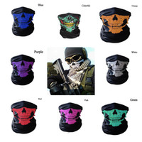Wholesale Mask Skull Cap - 8 Colors Skull Face Mask Halloween Skull Face Mask Outdoor Sports Warm Ski Caps Cycling Motorcycle Face Mask Scarf