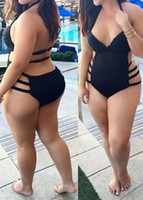 Wholesale Hot One Piece Swimwear - 2016 Women Hot Sexy V Neck Bikini Siamese Bandage Black Swimsuit Swimwear One Piece Plus Size L-3XL
