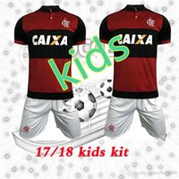 6256b025f Soccer Boys Short Flamengo kids Jersey 2017-18 season Home Red black  children Custom Shirt