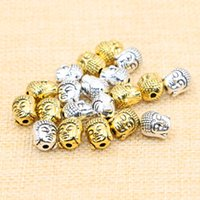 Wholesale Silver Beaded Spacer - 50pcs lot Tibetan Silver Antique Gold Buddha Head Spacer Beads Charms Fit Diy Beaded Bracelets Jewelry Handmade Making