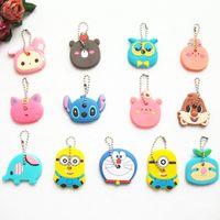 Wholesale Key Cap Owl - 20pcs lot Cartoon Anime Silicone Cute Hello Kitty Owl Key Cover Key Cap Stitch Keychain Women Key Chain Key Ring Key Holder Gifts