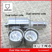 Wholesale Double Cartomizer - D core wax atomizer double coils Ceramic Cotton rob wax vaporizer dual heating coil wax cartomizer ecig cheap for sale