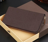 Wholesale Designer Leather Clutch Bags - Free Shipping! Fashion designer clutch Genuine leather wallet with dust bag 60015 60017
