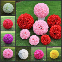 Wholesale Hanging Large Christmas Balls - 2016 New 20cm Artificial Encryption Rose Silk Flower Kissing Balls Large Hanging Ball Christmas Ornaments Wedding Party Decorations