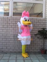 Wholesale-Mrs.Duck Mascot Costume canetons Taille adulte Fancy Party Cartoon Dress Tenues Livraison gratuite Costume