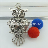 Wholesale Owl Oil - Vintage Silver Owl Locket for Aromatherapy Essential Oils Perfume Charms