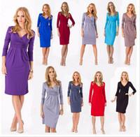 schöne sexy lässige kleider großhandel-Mode neue schöne Frauen Kleidung weibliche V-Ausschnitt langärmelige Falten Kleider sexy Bodycon Rüschen schwanger Casual Kleider für Frauen