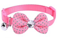 Wholesale Crystal Puppy Collars Free Shipping - Free Shipping! Wholesale Puppy Small Dog Cat Nylon Collar Necklace Tie with Crystal Diamond Polka Bow Tie for Pet Use