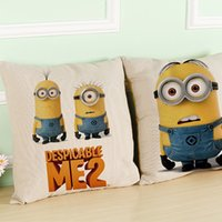 Wholesale Despicable Sleep - Best sell cartoon despicable me2 cushion cover linen material 45cm * 45cm size many designs lovely adorable model cuddle sleep room decor