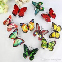 Wholesale wall lights living room online - Paste PVC Night Light Butterfly Shape Luminous Decorative Wall Lamp For Home Living Room Lights Factory Direct Sales ms R