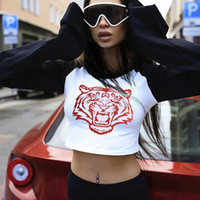 Wholesale Women Jumper Tiger Print - Women Tiger Print Cotton T Shirt 2017 Autumn Designer Fashion Round Neck Long Sleeve Contrast Color Crop Top Casual Jumpers Pullovers