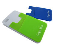 Wholesale Cell Phone Items Wholesalers - 1color logo printing silicone card holder for mobile with 3M sticker cheap promotion item cell phone credit card holder