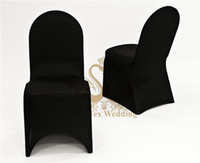 Wholesale Universal Chair Covers Free Shipping - Black Color Universal Polyester Spandex Chair Cover For Wedding Hotel Free Shipping