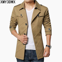 Wholesale mens hooded pea coats - Wholesale- New 2017 Fashion Casual Business Men's Trench coat England Single-breasted long pea coat trench jackets Mens slim fit clothes