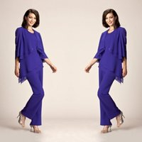 Wholesale Pearl Pants - latest 2017 mother of the bride pant suits for evening wear jewel neck asymmetrical hemline royal chiffon formal pant suits for mother groom