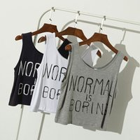 Wholesale Loose Crop Top Tanks Wholesale - 2017 Summer women crop tops NORMAL IS BORING letter print casual loose Sports sleeveless women crop top midriff tops crew neck