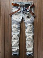 wear blue trousers men оптовых-Старинные Джинсовые Синие Джинсы Slim Fit Одежда Брюки Мужчины Отверстия Лоскутное Хип-Хоп Брюки