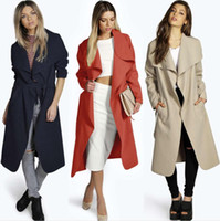 Wholesale Solid Woven Cotton Belt - Women's Overcoat with Sash Winter Wide Lapel Belt Pocket Wool Blend Coat Oversize Long Solid Trench Coat Outwear Wool Coat