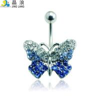 ingrosso ombelico a farfalla-2016 nuovo design di alta qualità moda argento palo blu cristallo farfalla ombelico anelli di piega per le donne monili penetranti del corpo