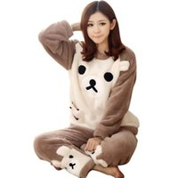 Wholesale Fashion Pajamas For Women - Wholesale- Winter Soft Flannel Pajama Set Sleepwear Cute Bear Pattern Type Fashion Women Home Wear Animal Pajamas for Adults