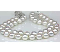 Wholesale South Sea Pearls White Ring - Nobby double strands 9-10mm south sea round white pearl bracelet 7.5-8inch 925 silver clasp