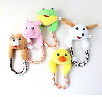 Wholesale 10pcs Plush Toys Interactive Pet Puppy Chew Squeaker Sound Toy Duck Frog Bear Pig Dog for Dogs Cat Puppy