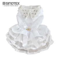 Wholesale Dog Veil Dress - Puppy Lace Clothes For Dog Wedding Dress Pet Products Cat Bridal Veil Festival Clothing Costume White Beadings