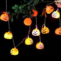 Wholesale halloween plastic skeleton - 2.5M Hanging Halloween Pumpkin Lantern 3D Plastic Skull String Light 16 LED Pumpkin Light Skeleton Halloween Holiday Ghost String Light