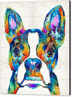 Giclee colorato boston terrier cane pop sharon cummings sharon cummings pittura ad olio arte e decorazione murale della tela