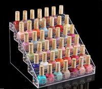 nail display stands toptan satış-Çok İşlevli Makyaj Kozmetik ekran Standı Şeffaf Akrilik Organizatör Mac Ruj Takı sigara Ekran Tutucu Oje Raf