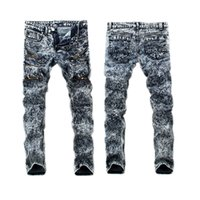 Wholesale Type Jeans Pant - Wholesale free shipping Straight Leg Type Men's Jeans Washing Grinding White Snowflake Pants skinny plus size 36