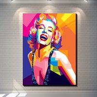 Wholesale Colorful Marilyn Monroe - Vintage Abstract Colorful Geometric Marilyn Monroe creative posters painting pictures print on the canvas,Home Wall art decor canvas poster