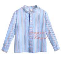 tam göğüsler toptan satış-2019 Cutestyles Yeni Sonbahar Mandarin Yaka Erkek Casual Çizgili Gömlek Tam Kollu Tek Göğüslü Çocuklar Giysi Tasarımcısı B-DMBT906-802