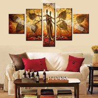 Wholesale lovers oils canvas - Modern abstract lover tree oil painting 5 Pieces hand painted figures oil painting on thick canvas home wall art decoration