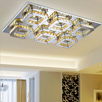 Wholesale Modern Square Ceiling Lights - Modern LED Crystal Light Square Surface Mounted Lamp Crystal Chandeliers Ceiling Light Fixture For Foyer Living Room Bedroom Corridor Light