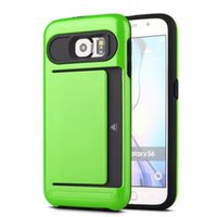 Wholesale hard plastic id case - Armor slide credit card case for samsung galaxy s5 s6 s7 edge note 3 4 slot wallet ID layer shockproof hard cover shell