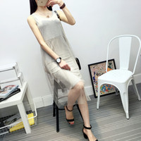 Wholesale White Casual Mid Dresses - Rushed Casual Mid-calf Dresses White Black Gray M Midi Crew Neck Tiered New Modal Female Summer Net Yarn Splicing Vest Dress Trend Veil