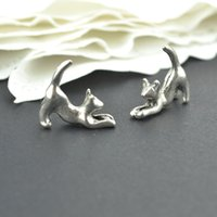 Wholesale Metal Charms Pendants Cat - wholesale 100pcs Vintage tibetan silver hue animal charms metal cat pendants for diy necklace & bracelets jewelry fitting 17*16mm 2243