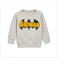 Wholesale Boys Batman Jumper - 2017 New Spring Autumn Boys Cartoon Batman Sweatshirt Kids Long Sleeve T-shirts Baby Boy Casual Sweater Children Cotton Pullover 6pcs lot