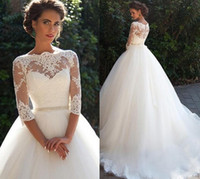 Wholesale Sexy Cheap Black Ball Gowns - Vintage Lace A Line Wedding Dresses 2017 Millanova Bateau Half Long Sleeves Pearls Tulle Princess Ball Gowns Cheap Bridal Dresses Plus Size