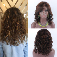 Wholesale silk base brazilian curly lace wig resale online - 150 high density Indian hair silk top wig short curly Indian hair Silk Base full lace x4 wigs silk top glueless wig