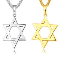 i̇srael kolye toptan satış-David yıldızı Magen Kolye Kolye Yahudi Takı Kadın Erkek Zincir 18 K Altın / Siyah Gun Kaplama Paslanmaz Çelik İsrail Kolye Hediyeler