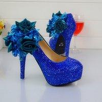 damen blaue farbe pumpen großhandel-Hochzeitskleid Schuhe Königsblau Farbe Strass Party Prom High Heel Schuhe Handmade Lady Anniversary Party Pumps Plus Size