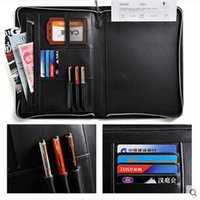padfolio zipper - Cagie New A4 Black Leather Padfolio Multifunction Business Management Contract Manager Folder Zipper File Folder