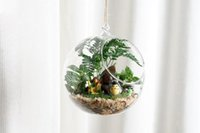 Wholesale Hanging Clear Glass Candle Holder - Clear Glass Ball Hanging Air Plant Terrarium Wedding Candlestick Tealight Holders for wedding Home Decor 8cm 10cm 12cm 15cm