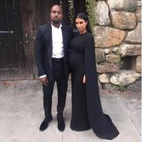vestido de maternidade preto até o chão venda por atacado-Nobre Preto Kim Kardashian Mulheres Grávidas Vestidos de Baile Com Longo Xaile Até O Chão Ocasional Especial Vestido de Noite Vestidos de Maternidade