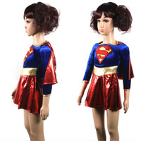 Wholesale Super Man Costumes For Girls - hero 2017 new free shipping child supergirl Sexy girl super hero costume cosplay party for super girl costume kids superman dress