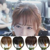 Wholesale Hair Bangs Pieces - Sara Shuangbin Bang Clip in Bangs Fringe Frange Franja Brown & Black Bangs Front Hair Extensiones Synthetic Hair Piece Hairpiece