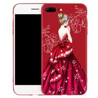iphone shell diamant rouge achat en gros de-Pour iphone X Cas Filles De Mariage Robe Diamant Cas Rouge Souple TPU Couverture Arrière Pour Iphone 6 7 8 Plus Shell Gratuit DHL 364