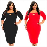 Wholesale Club Clothing Clubwear - Plus Size Party Dresses For Women 2016 Sexy A-line 3 4 Long Sleeve Super Large Size Clothes Sexy Night Out Clubwear Bodycon Dresses